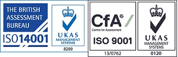ISO14001 and ISO9001 UKAS Logos